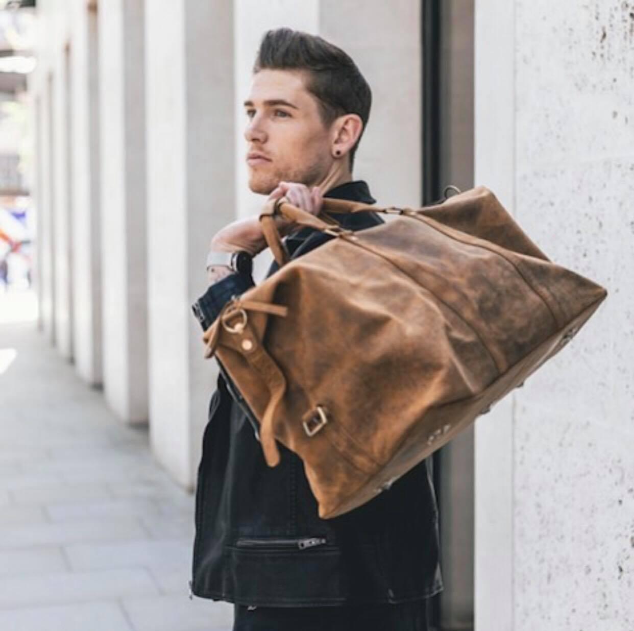 Distressed Black Leather Men/'s Briefcase Messenger Shoulder Satchel Duffel