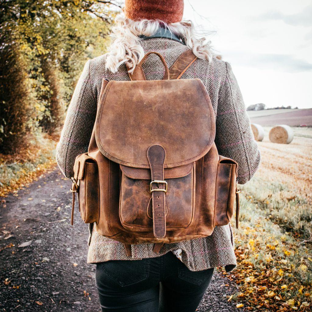 Scaramanga's large leather backpack