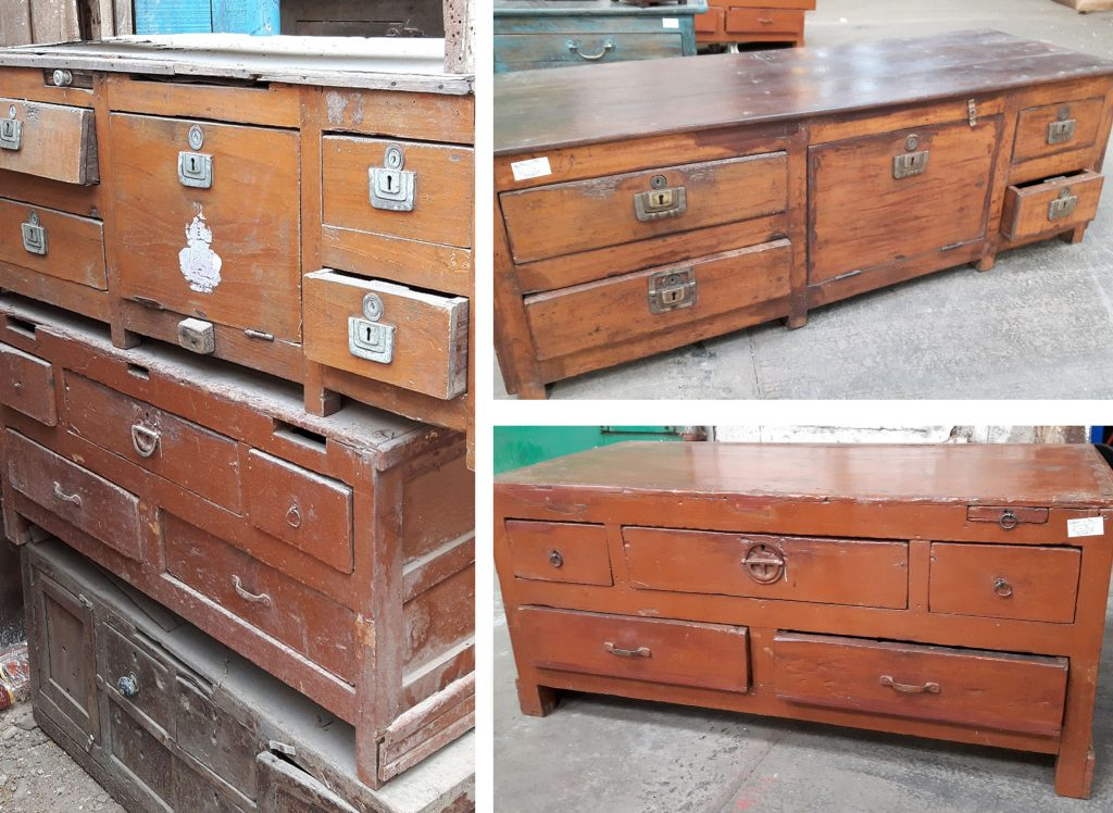 vintage furniture before restoration and after