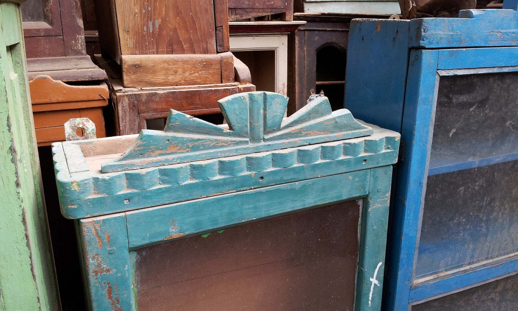 Old blue wooden cabinets and cupboards