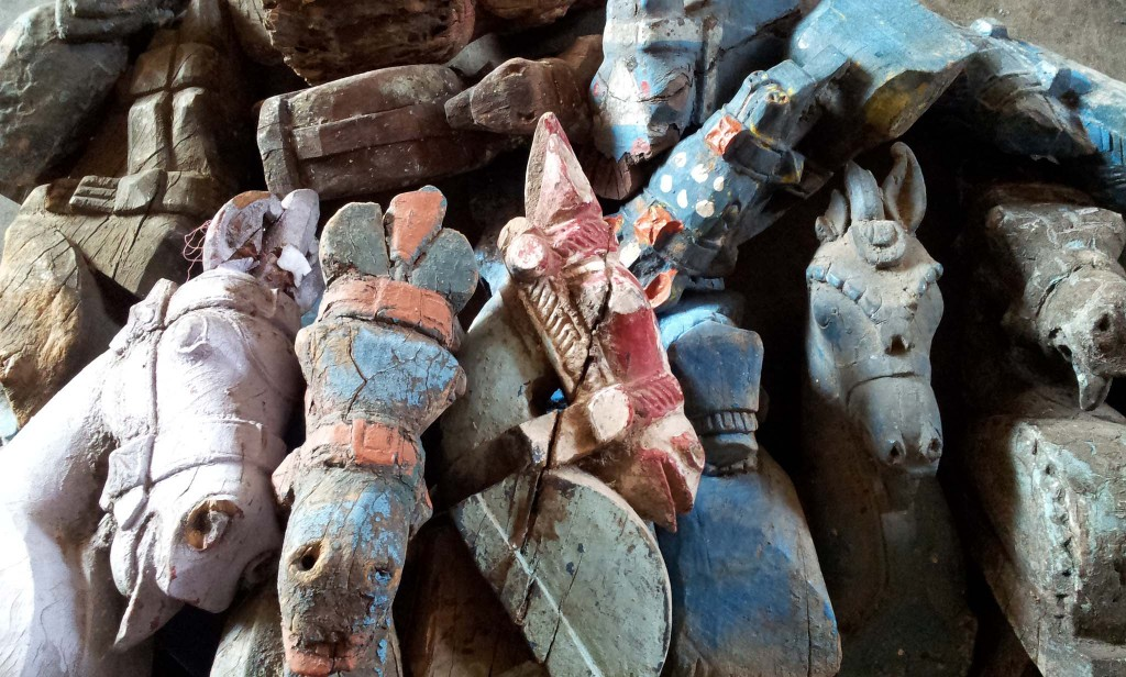 Antique wooden horses