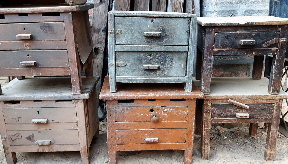 Unrestoted vintage merchant and jewellery makers' cabinets. Today they make unique bedside cabinets and side tables