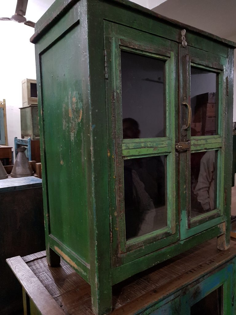 green vintage cabinet