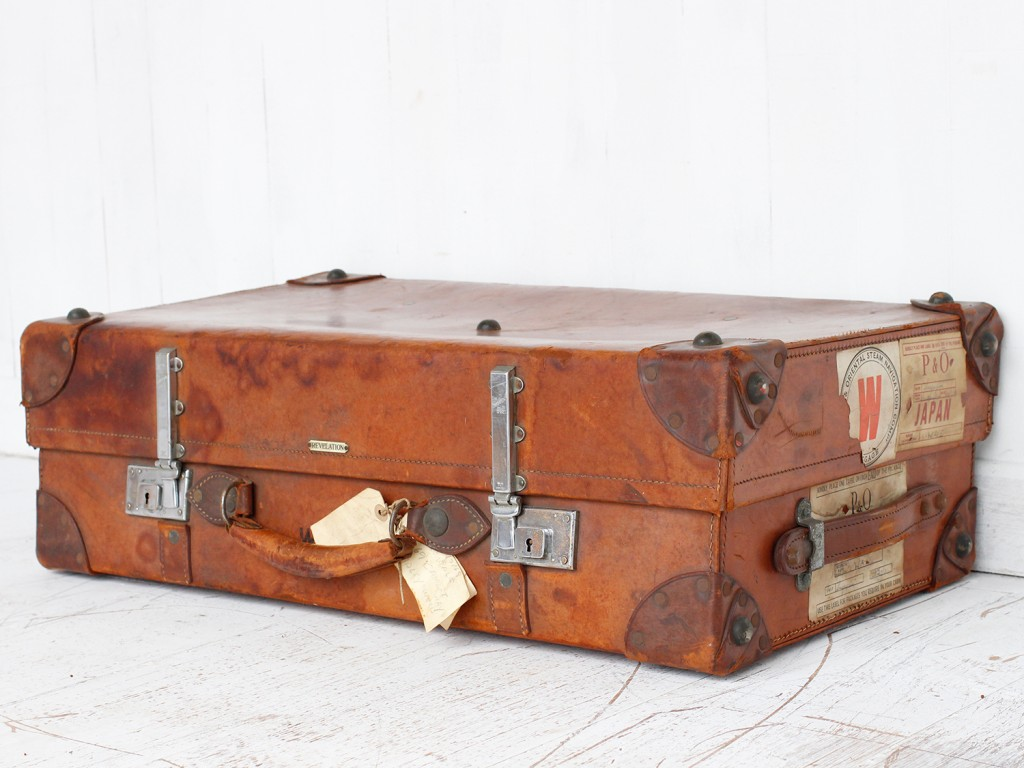 Old and vintage  leather suitcase