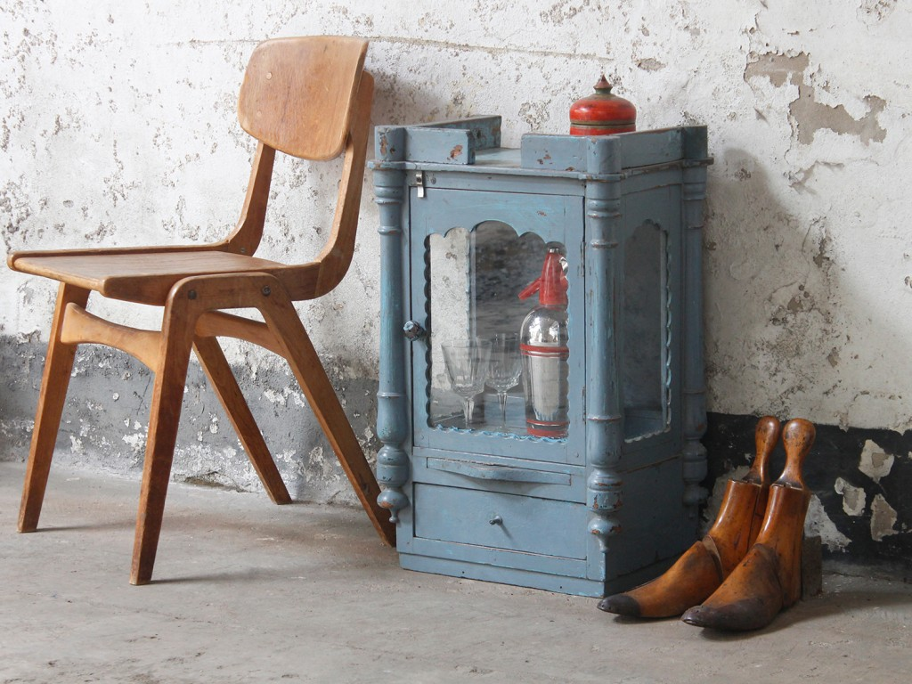 antique blue temple cabinet from Scaramanga's vintage furniture collection