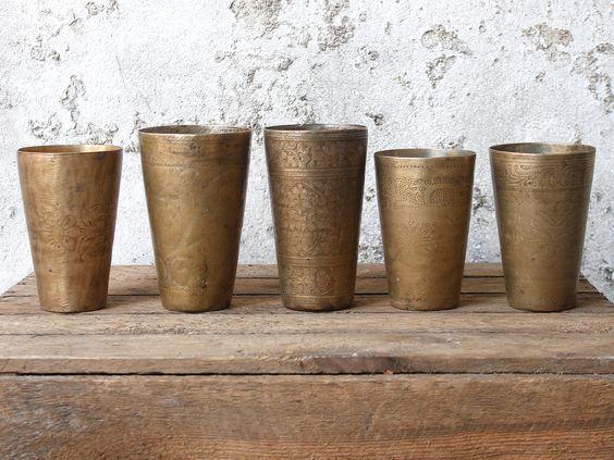 Vintage Brass Lassi Cups