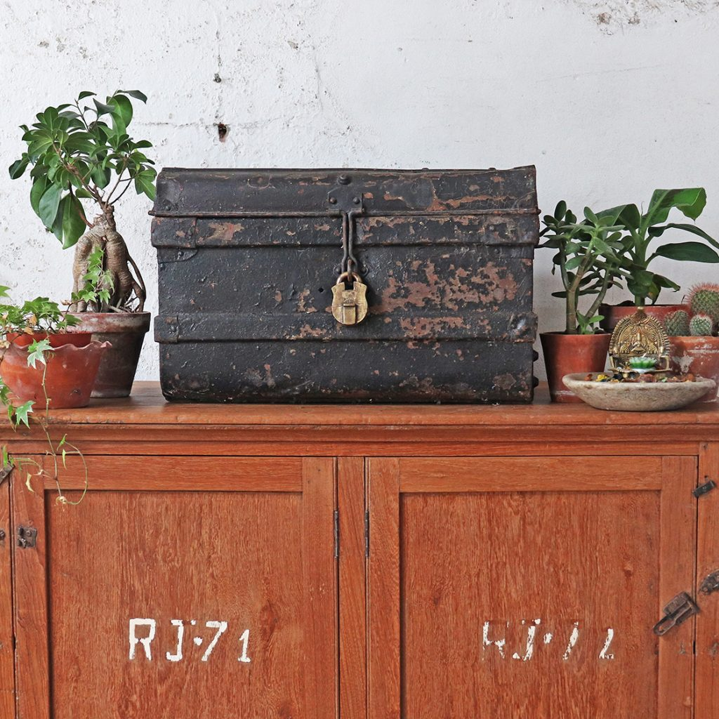 vintage storage trunk made from metal