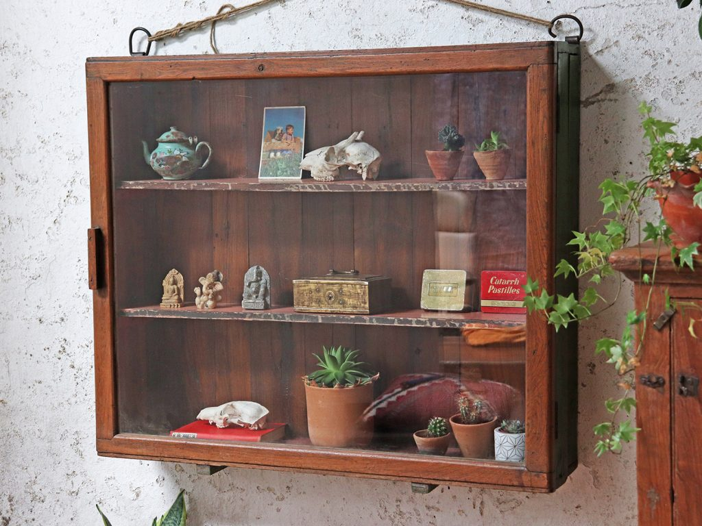 Vintage glass display cabinet used to show off curios