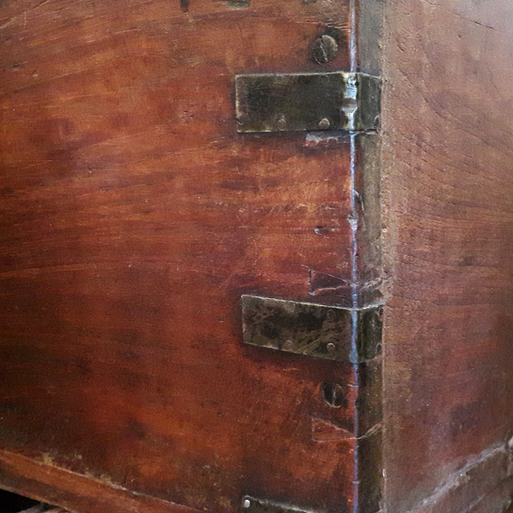 dovetail joints used on an antique wooden chest