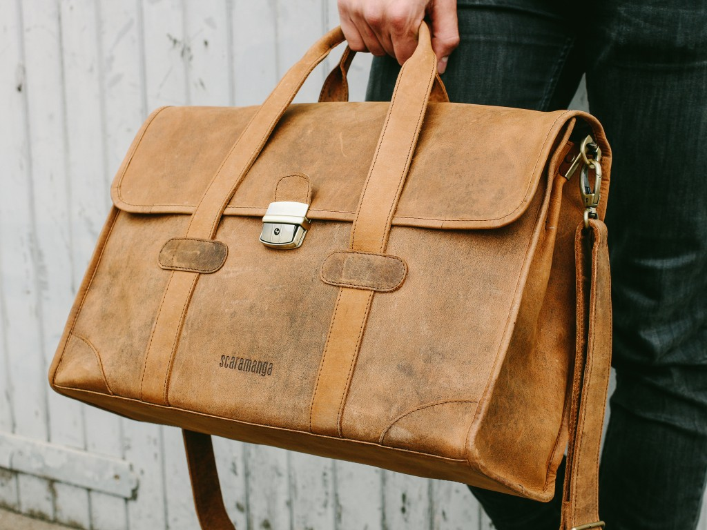 wide leather briefcase