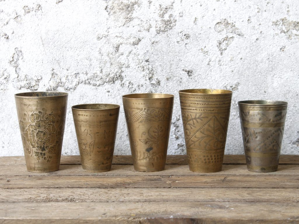 vintage brass cups, pots and boxes - lassi cups