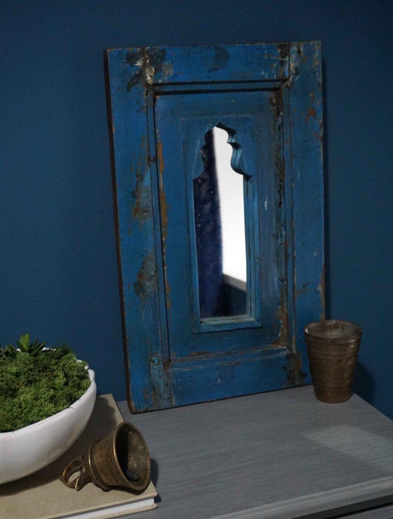 blue vintage mirror
