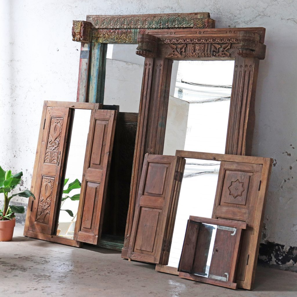 Sustainability | Beautiful antique window frames and shutters upcycled into striking mirrors.