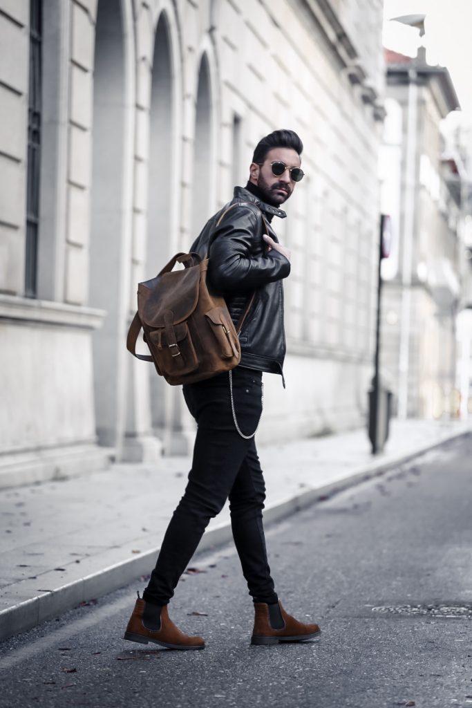 leather backpack for men