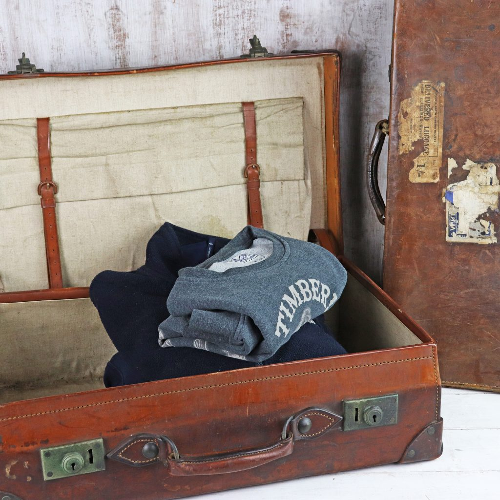 vintage leather suitcase by scaramanga
