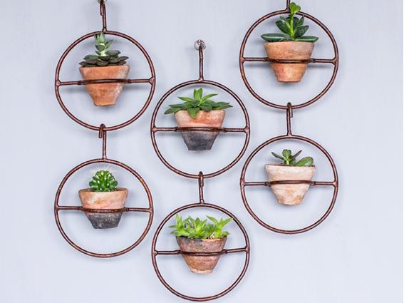 clay pot in metal hanger now in summer sale
