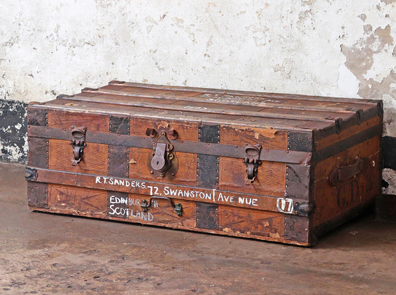 Vintage distressed travel trunk