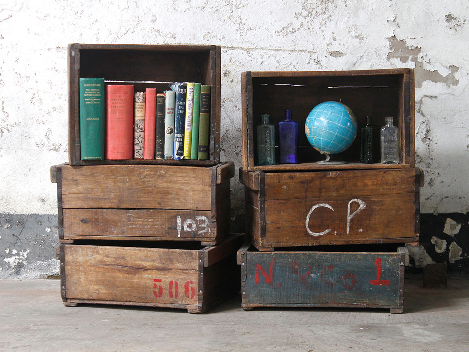 vintage wooden crates used as storage crates