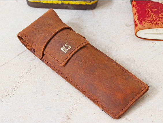 New personalised leather pen case with clip