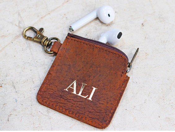 Leather personalised ear bud case