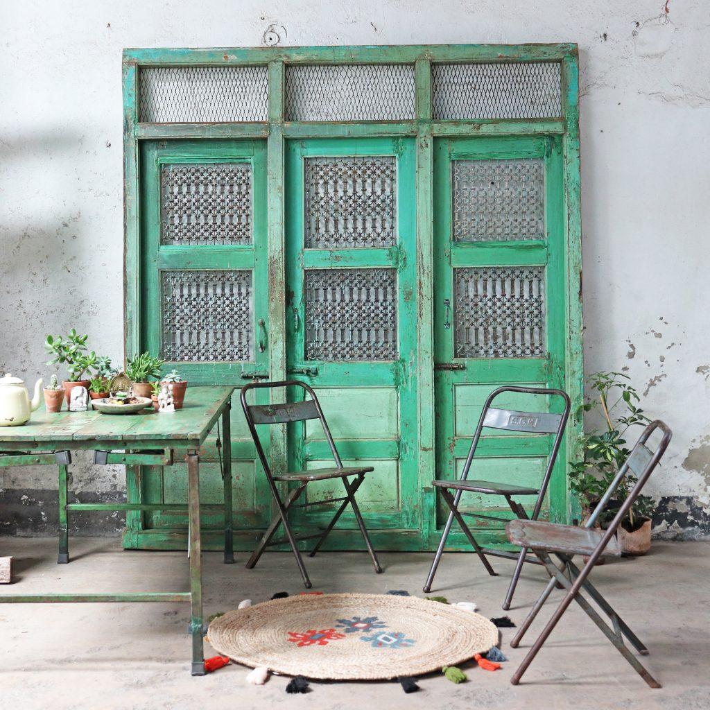 3 antique salvaged green doors
