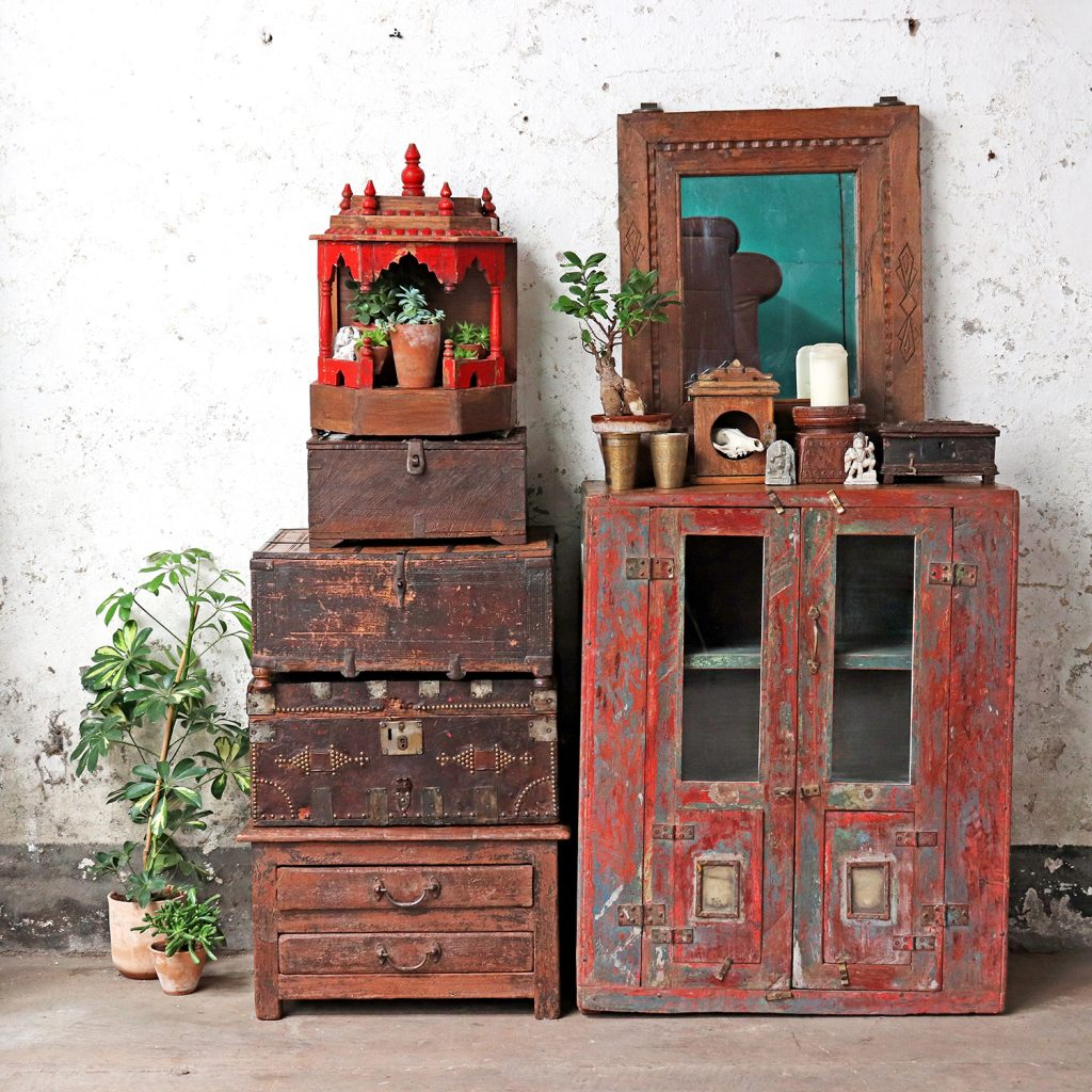 Vintage red colour cabinet & old boxes