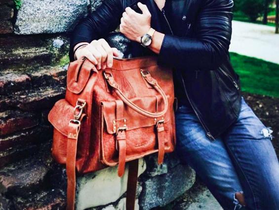 mens leather weekender bag