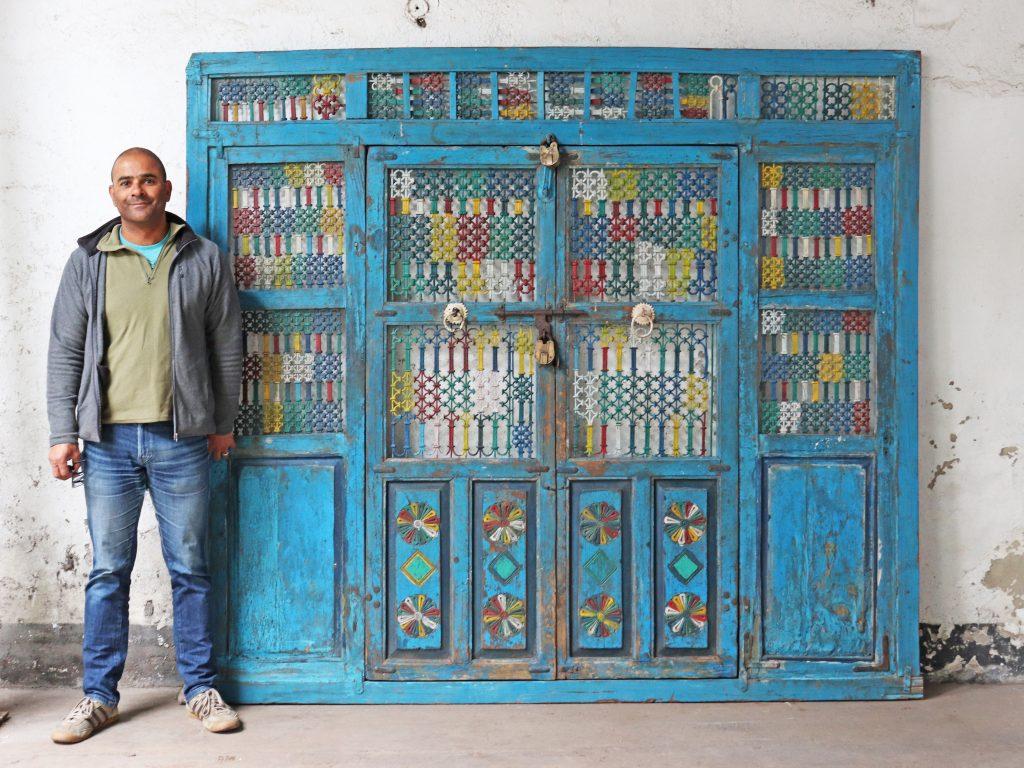 blue, vintage Indian doors