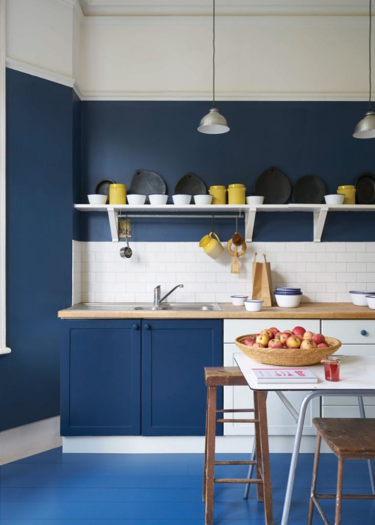 A blue kitchen - cabinets and cupboards