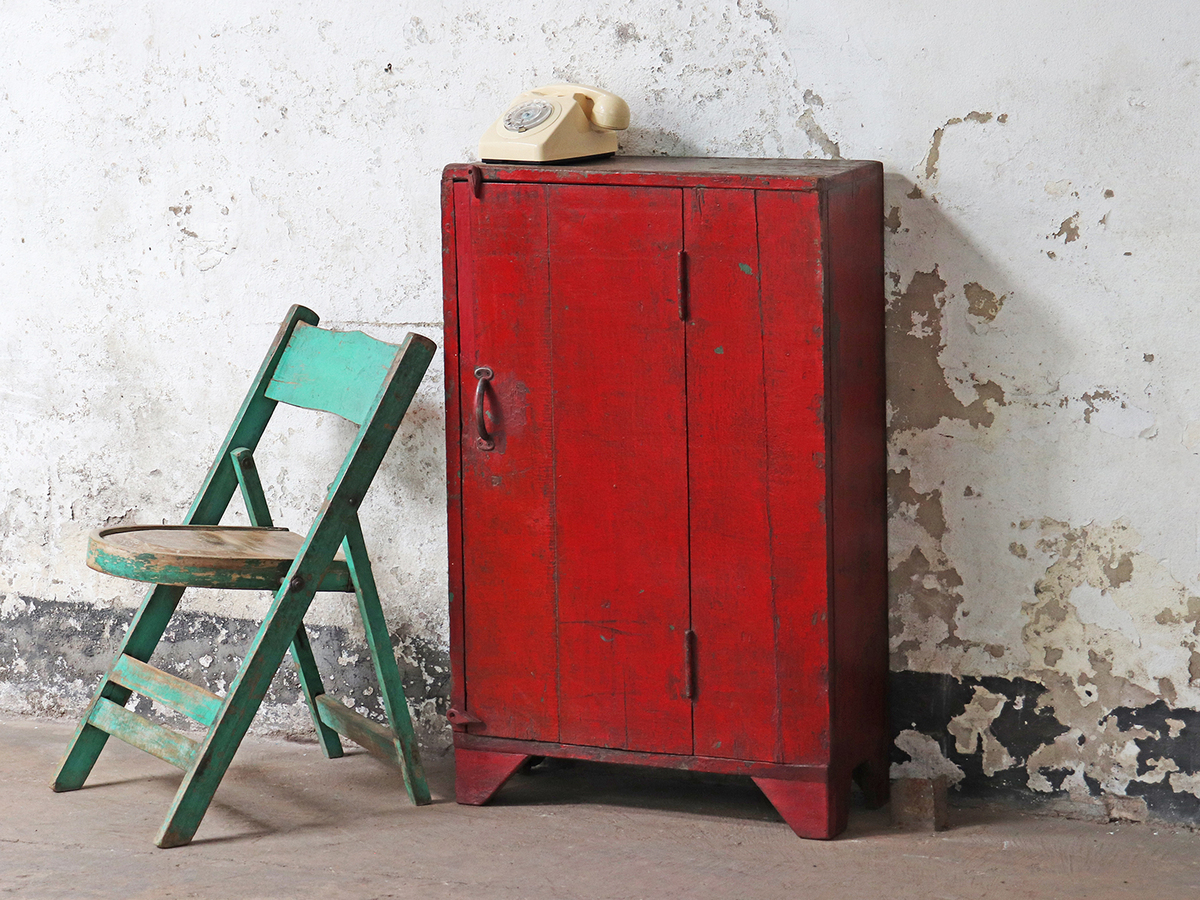 Create the Perfect Autumn Focal Point with our Rustic Vintage Red Cabinet