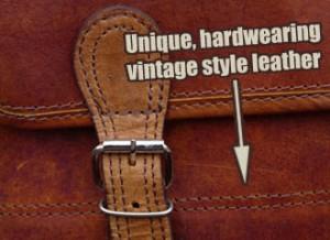 The beautiful buffalo leather used to make Scaramanga Satchels