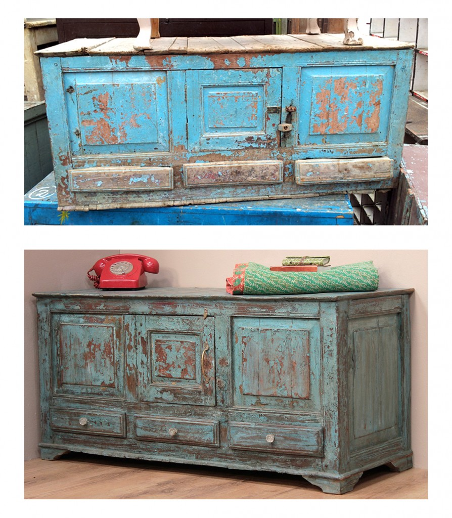 An old blue sideboard before and after