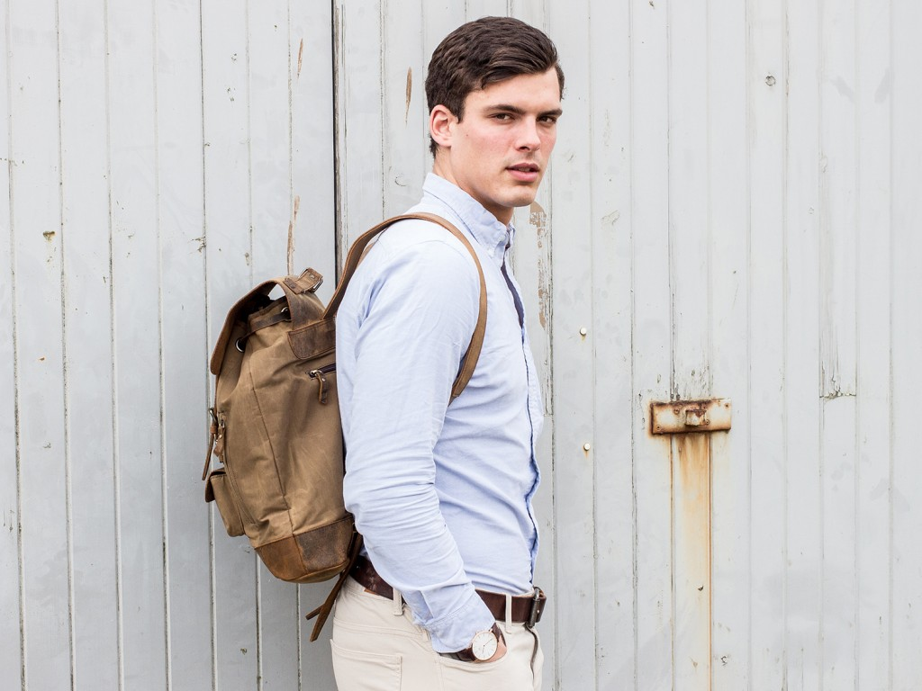 canvas and leather rucksack for men