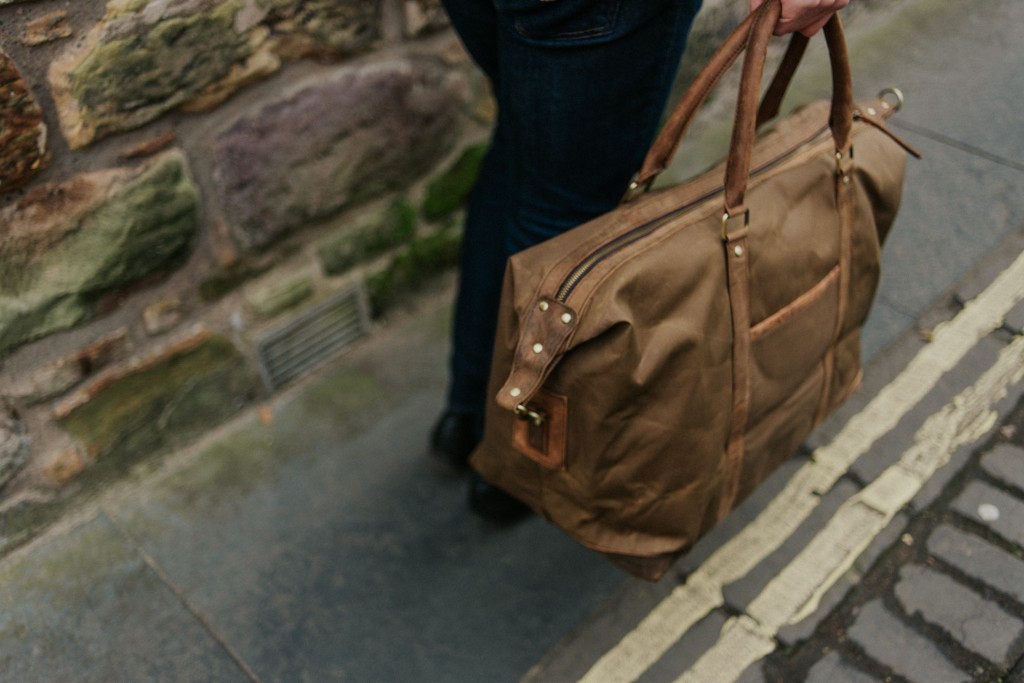 waxed canvas & leather holdall
