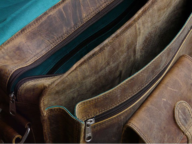 Internal Compartments of a Small Overlander Leather Bag, £105