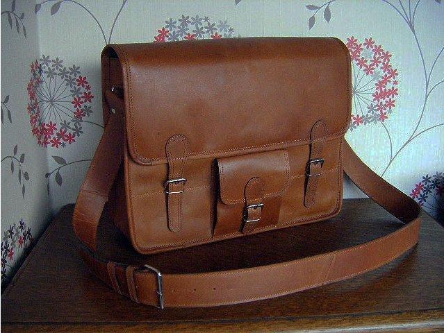 Medium Wide Leather Satchel, £80