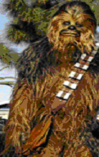 Chewbaca with his shoulder bag