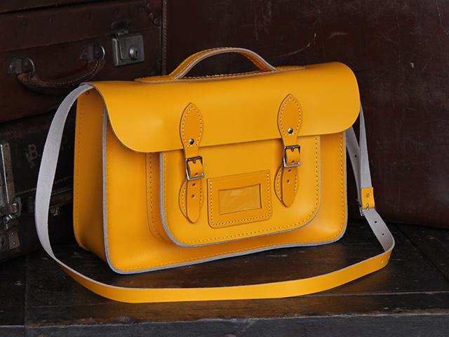 15 Inch Yellow Leather Satchel, £99
