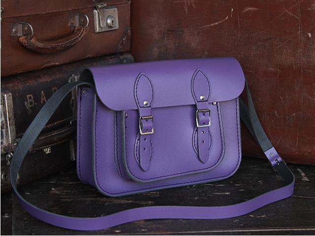 11 Inch Purple Leather Satchel, £70
