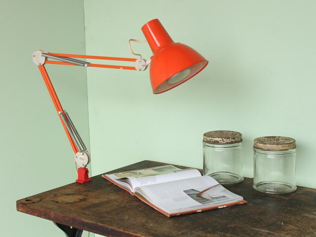 Mid-century Orange Industrial Desk Lamp, £110