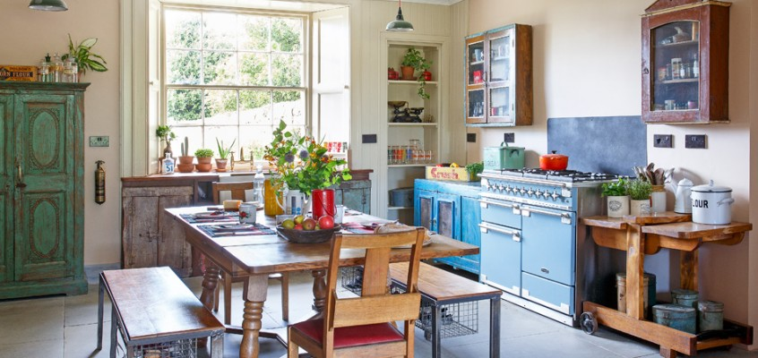 Vintage Kitchen Ideas Using Reclaimed Materials & Eclectic Styling