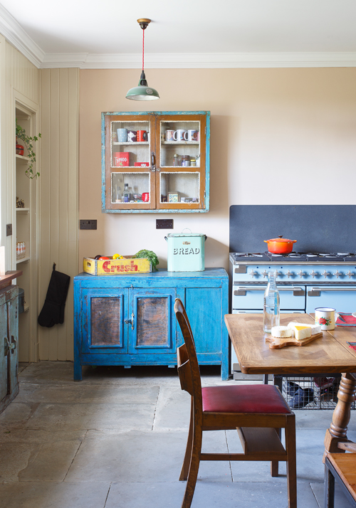 The top of this old kitchen cupboard makes an ideal work surface