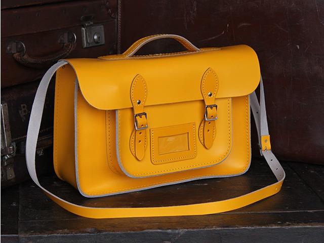 Yellow Leather 15 Inch Satchel, £99