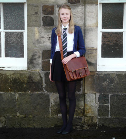 Sarah With Her Leasther Satchel