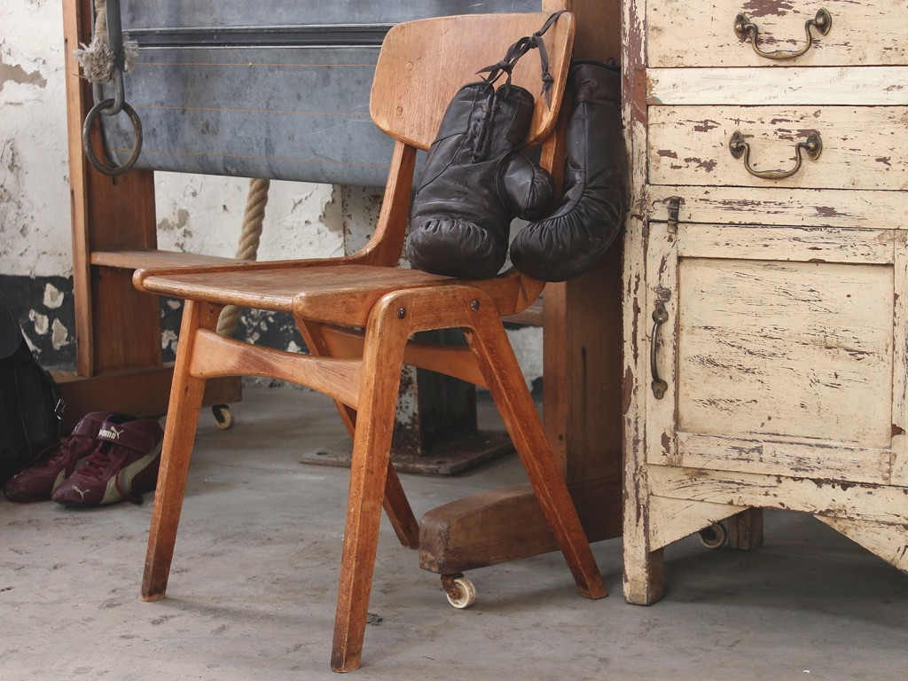 old wooden school chair by scaramanga