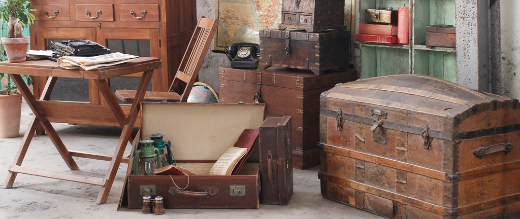wooden chests and vintage suitcases
