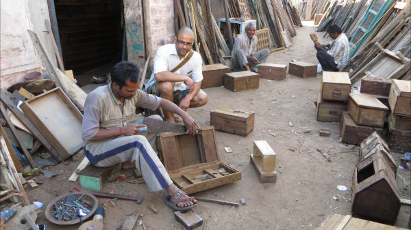 Old wooden boxes being restored