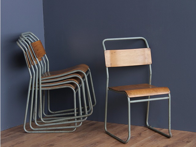 Metal Industrial Stacking Chairs, £85 per pair