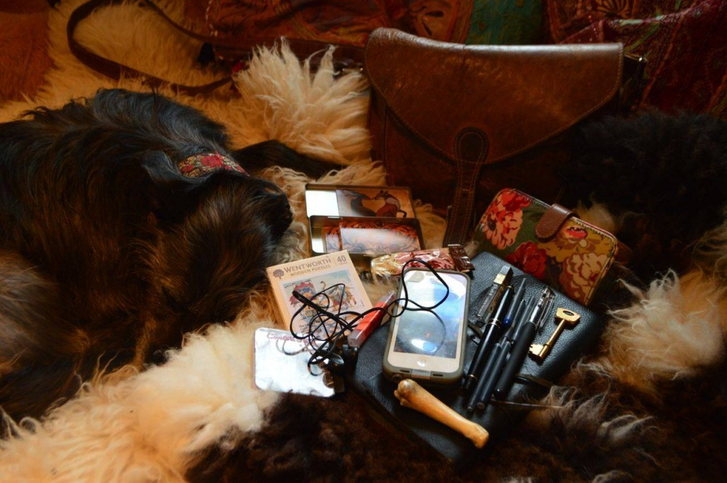 The contents of Jackie's leather saddlebag