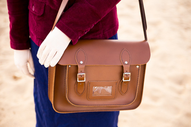 Jessica and our 13 Inch Brown Leather Satchel